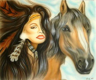 Idian girl and horse
