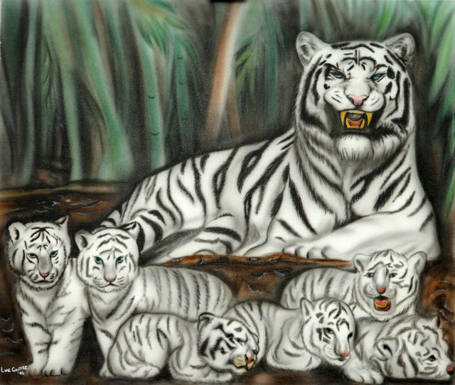 White tiger and cubs